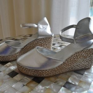 Silver Cute Silver Platform Size 8. NEW